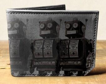 Mens wallet, Leather wallet, Mens leather wallet, Bifold wallet, robots wallet - 034