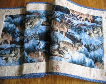 Quilted Table Runner in a Wolves Pattern - NEW PATTERN