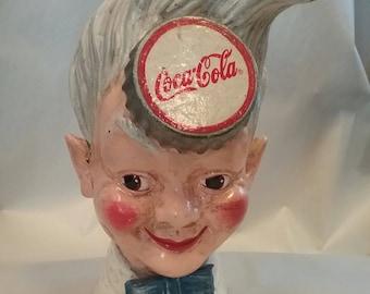 Vintage Coca Cola Sprite Boy Cast Iron Bank