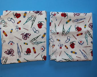 Cotton Fabric Pieces wiith Medical Theme