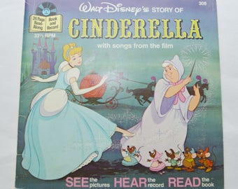 Vintage Lot of 3 Disney Read-Along Storybook Records 1970s 7 inch The Rescuers Cinderella Snow White and the Seven Dwarves
