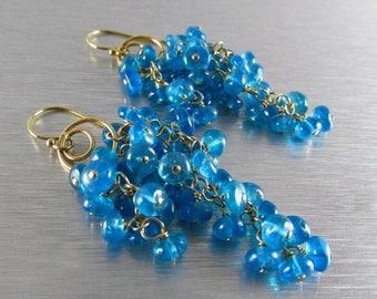 25 OFF Neon Blue Apatite Waterfall Earrings, Cluster Earrings