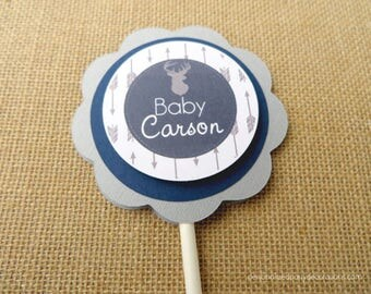 Deer Cake Topper, Deer Baby Shower Cake Topper, Deer Birthday Party Cake Topper, You Choose Colors & Saying