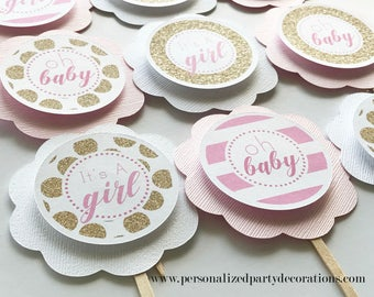 Kate Spade Inspired Baby Shower Cupcake Toppers, Gold and Pink Baby Shower Decor - Ships Quick & Free Shipping