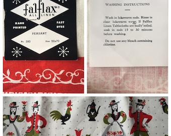 Fantastic Falflax Large Handprinted Linen Tablecloth Unused with Original Paper Label!