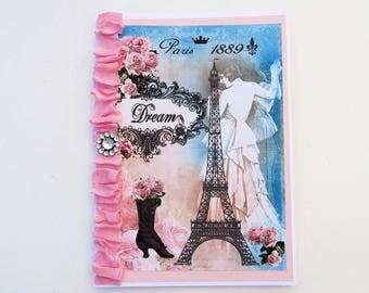 Paris Dream Card,Eiffel Tower,Rhinestone French Birthday, Paris Bridal Shower,Bon Voyage, French Vintage Boot,Shabby Cottage, High Tea