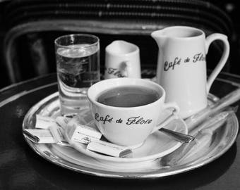 Paris Photography, Café de Flore coffee, St Germain Des Pres, Parisian Café, Classic Paris Cafe, black and white photography, kitchen art