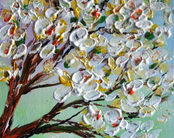 Magnolia Blossom Branches Original Oil Painting on Canvas Mint Ivory Art by Luiza Vizoli