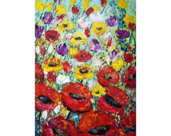 Spring Flowers Field 60x36 Large Impasto Flowers Painting Ready to Ship ,ready to Hang, Tulips, Poppies  Floral