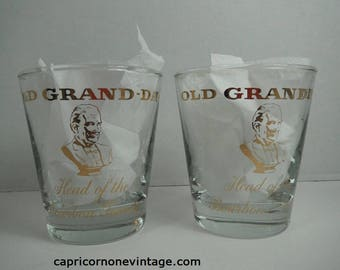 Vintage Old Grand-Dad Glasses Libbey Glassware National Distillers Old Grand Dad Head of the Bourbon Family Rocks Glass Movie Prop Drinkware