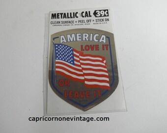 Vintage America Love it Or Leave It Sticker Vietnam War Era Metallic Sticker Lindgren Turner Co Decal 1960s 1970s Pop Culture Movie Prop NOS