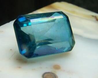 Large Aqua Aura Gemstone - faceted rectangle emerald cut gem - blue Quartz Crystal - coyoterainbow - 24 Karat Gold molecules colored G4NLi
