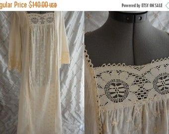 ON SALE 70s Dress  //  Vintage 1970's Ivory Cream Gauze Lace Boho Maxi Dress by Miss K Alfred Shaheen Size L wedding hippie prairie romantic