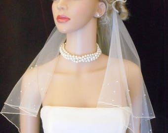 Rhinestone Pearl Infinity WEDDING VEIL , 2 Layer,Circular Infinity Cut, Pearl Crystal Wedding Veil,Scattered Pearl Veil, Scattered Crystals