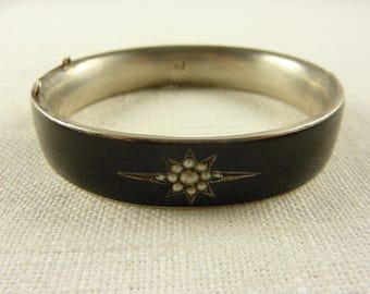 Antique Victorian Austro-Hungarian Silver Black Enamel Seed Pearl Mourning Hinged Bangle