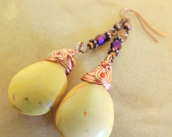 Yellow Magnesite Briolette Earring, Dangle Earring, Yellow and Purple, Boho Jewelry, Handcrafted Jewelry, Teardrop Earrings, Wire Wrap