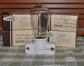 Pair Vintage New Old Stock Ceramic Connecting Light Sockets