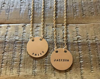 D I S C  N E C K L A C E • custom stamped necklace