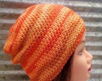 Crochet Slouch Hat in Orange Ombre