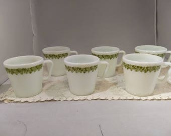 Set of Pyrex Spring Blossom by Corning Coffee Cups Mugs 6 Pc Set Crazy Daisy #C106