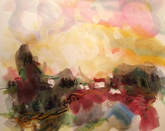 Watercolor Landscape Painting mountain sunset village scene