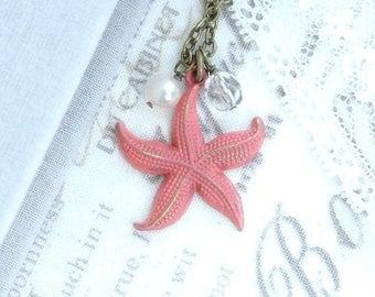 Starfish Pendant Necklace Coral Necklace Beach Wedding Nautical Pendant Necklace