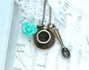 Tea Necklace Tea Party Necklace Tea Cup Necklace Teacup Charm Necklace Shabby Chic Necklace