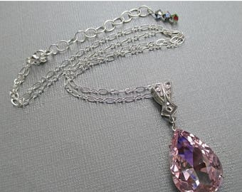 SALE 20% Off Pink Crystal Necklace - Prom Jewelry - Pendant - VERSAILLES Pink