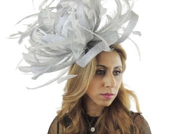 Large Silver Fascinator Kentucky Derby or Wedding Hat **SAMPLE SALE