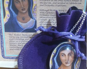 statement necklace - Virgin Mary - religious gifts - Mother mary - divine feminine - religious jewelry - christian gifts - silver necklace
