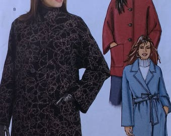 Butterick B5093 Misses Loose Fitting Coat and Belt Pattern Fast Easy Coat Pattern Misses Size XSM 4-6 Small 8-10 Medium 12-14