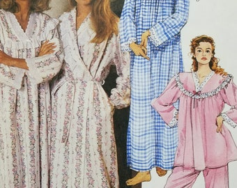 Lanz of Salzburg Misses Robe Night Gown Pajama Pattern Mccalls 6312 Misses Size Large Extra Large Plus Size 16-22