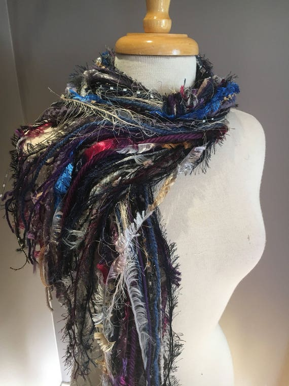 Fringe Scarf, Storm Fringie,  hand-tied fringe scarf, black grey, blue, funky scarf, bohemian, wearable art, fur scarf, knotted, fashion