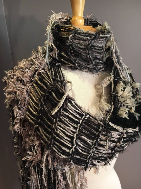 Fringed soft knit scarf, Black and Greige Taupe, Soft Knit Scarf, Black grey scarves, fringe fashion scarf, art yarn scarf, boho chic, gifts