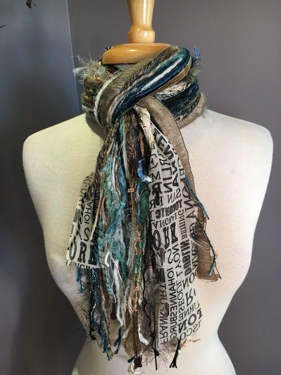 Medium Fringe art scarf, Vienna Traveler, cream taupe grey scarf, city print, Handmade Boho Scarf, travel gift, newsprint scarf, art yarn