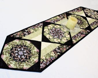 Asian Quilted Table Runner in Green and Black, Oriental Style Stack and Whack Floral Table Runner Quilt, Quiltsy Handmade