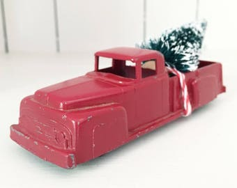 Christmas In July SALE - Vintage Red Midgetoy Truck Toy with Bottle Brush Tree, Christmas Tree Truck