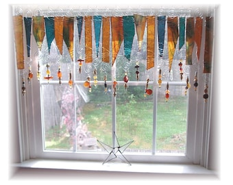 Amberosia NUMBER TWO Stained Glass Window Treatment Kitchen Valance Curtain