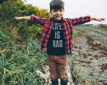 Kids Life is Rad Tshirt - Black 100% Cotton Tshirt, Sizes 2T,4T,6 - cool gifts for kids - life is rad tshirt - life is rad kids - cool kids