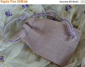 ON SALE One Dozen Faded Lavender Burlap Bags