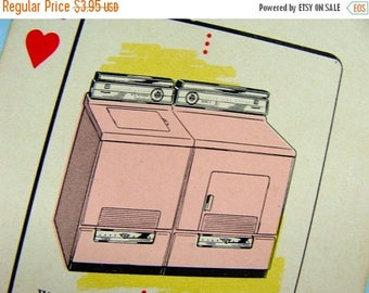 ONSALE Vintage Pink Collector Playing Card 1950s Antique Vintage Kitsch Baking Cooking Kitchen Decor Display
