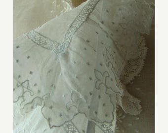 ONSALE Gorgeous Antique Edwardian Heirloom Intoxicating Antique Handmade Pale Blue Collar Downton Gatsby N07