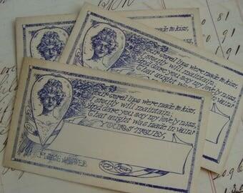 3 Amazing Rare Antique Edwardian Victorian Correspondence Calling Cardboard Cards 1920s Lot