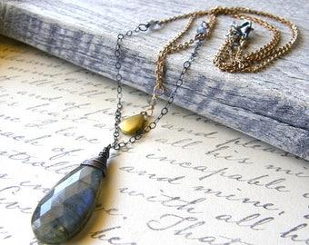 Summer Sale 20% Off Double Strand Locket Necklace, Labradorite Necklace, Mixed Metals Necklace, Pendant Necklace