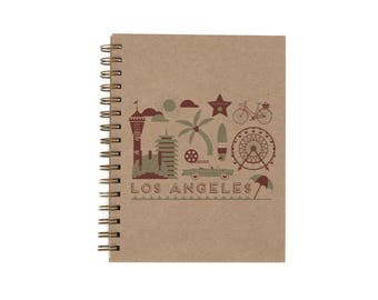 Los Angeles Journal - Notebook | Lined Pages | Spiral Bound | Letterpress | Hard Cover