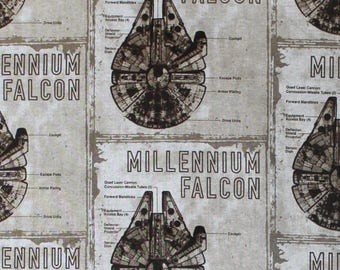 Star Wars The Last Jedi Millenium Falcon Blueprint Cotton Fabric by the yard and by the half yard