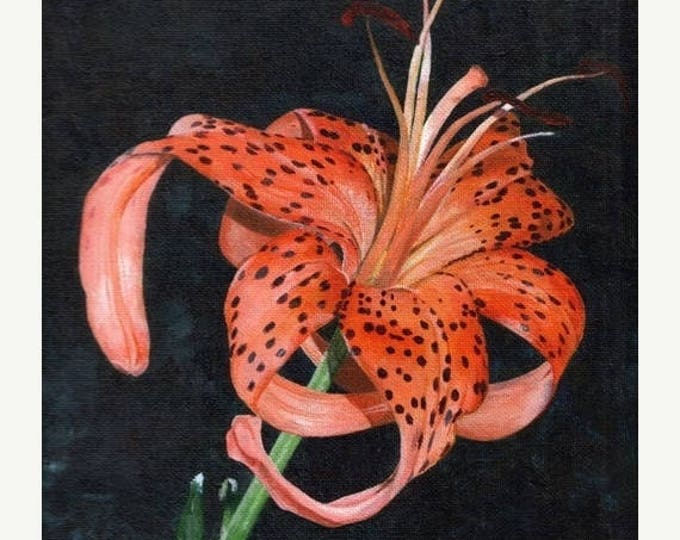 Summer Sale A Blooming Tiger Lilly, Original Acrylic Painting By Huiyi Tan