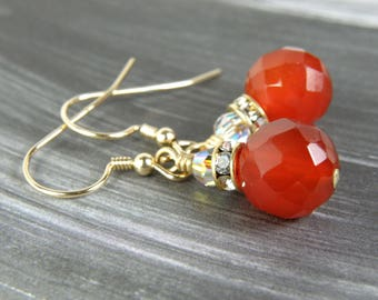 Orange Earrings, Gold Filled, Round Carnelian, Bright Tangerine, Faceted Stone Dangle, Fall Fashion, Autumn Wedding Jewelry, Handmade Gift