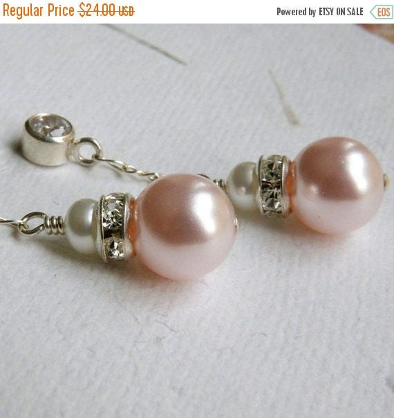 Bridesmaid Pink Pearl Earrings, Dangle, Cubic Zirconia Posts, Sterling Silver, Wedding, Bridal Party, Handmade Jewelry