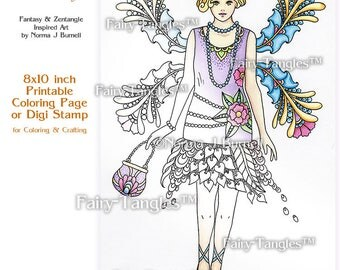 Flapper 1920's Fashion Fairy Tangles Printable Coloring book Sheets & Pages Norma J Burnell 1920 Fashions Adult Coloring for Grownups